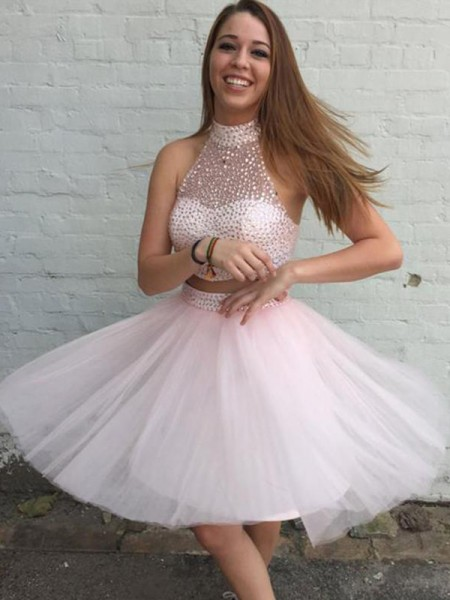 A-Line/Princess Short/Mini High Neck Beading Sleeveless Tulle Cocktail Party Dresses