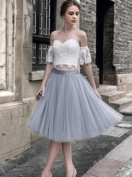 A-Line/Princess Tea-Length Sweetheart Sleeveless Tulle Cocktail Party Dresses