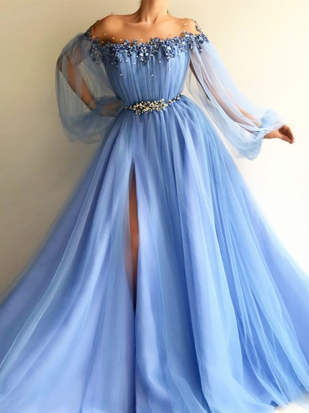 A-Line/Princess Floor-Length Off-the-Shoulder Beading Long Sleeves Tulle Dresses