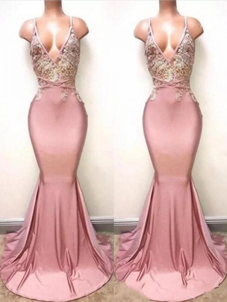 Trumpet/Mermaid Sweep/Brush Train V-neck Sleeveless Satin Dresses