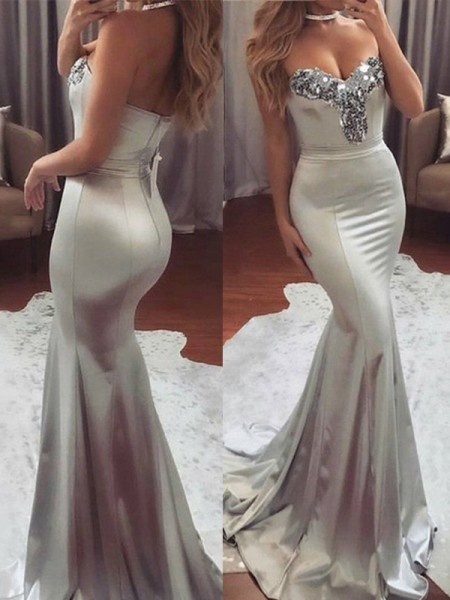 Trumpet/Mermaid Sweep/Brush Train Sweetheart Sequin Sleeveless Satin Dresses