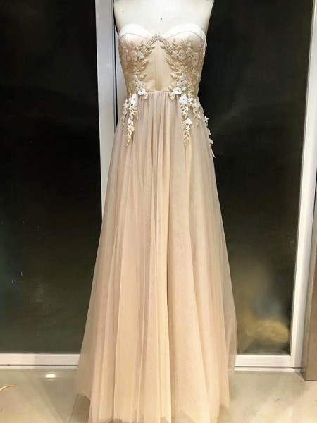 Empire Floor-Length Sweetheart Applique Sleeveless Tulle Dresses