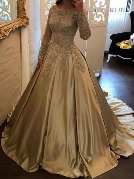 Ball Gown Sweep/Brush Train Off-the-Shoulder Applique Long Sleeves Satin Dresses
