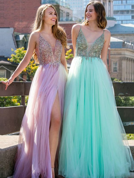 A-Line/Princess Floor-Length V-neck Beading Sleeveless Tulle Dresses
