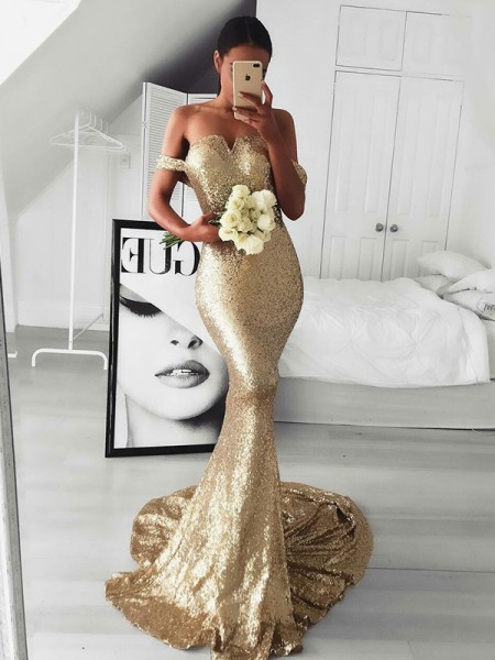 Trumpet/Mermaid Sweep/Brush Train Off-the-Shoulder Ruffles Sleeveless Sequins Dresses