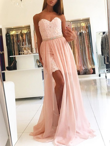 A-Line/Princess Sweep/Brush Train Sweetheart Sleeveless Tulle Dresses