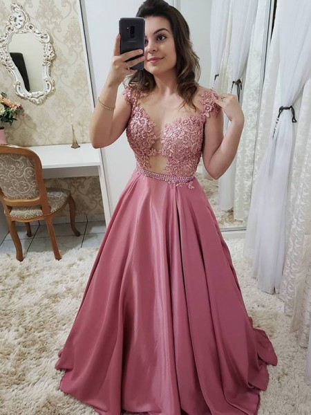 A-Line/Princess Floor-Length Scoop Applique Sleeveless Satin Dresses