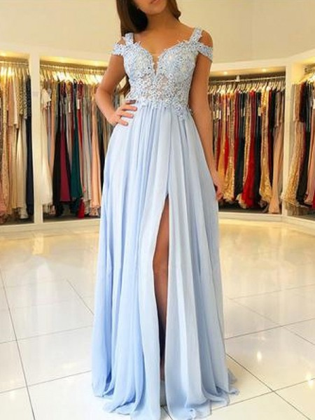 A-Line/Princess Floor-Length Off-the-Shoulder Applique Sleeveless Chiffon Dresses