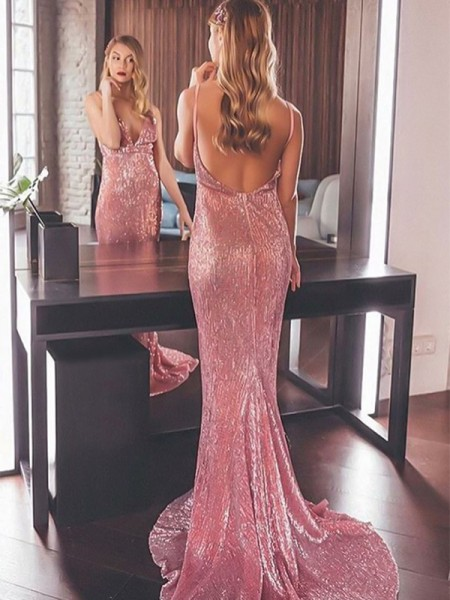 Trumpet/Mermaid Sweep/Brush Train V-neck Ruffles Sleeveless Sequins Dresses