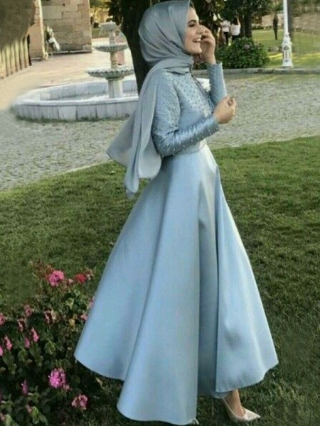 A-Line/Princess Floor-Length Scoop Beading Long Sleeves Satin Muslim Dresses