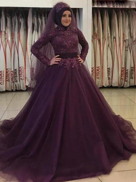 Ball Gown Sweep/Brush Train High Neck Applique Long Sleeves Tulle Dresses