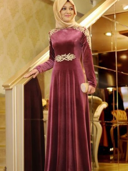 A-Line/Princess Floor-Length Scoop Ruffles Long Sleeves Velvet Muslim Dresses