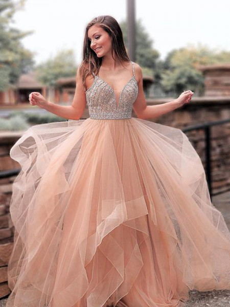 A-Line/Princess Sweep/Brush Train Straps Beading Sleeveless Tulle Dresses