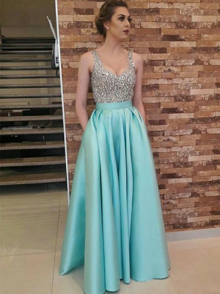 A-Line/Princess Floor-Length V-neck Beading Sleeveless Satin Dresses