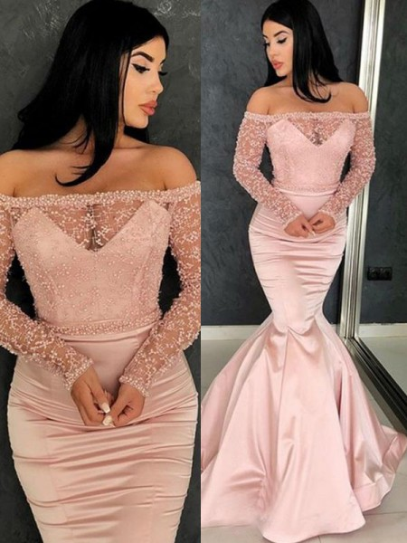 Trumpet/Mermaid Sweep/Brush Train Off-the-Shoulder Ruffles Long Sleeves Satin Dresses