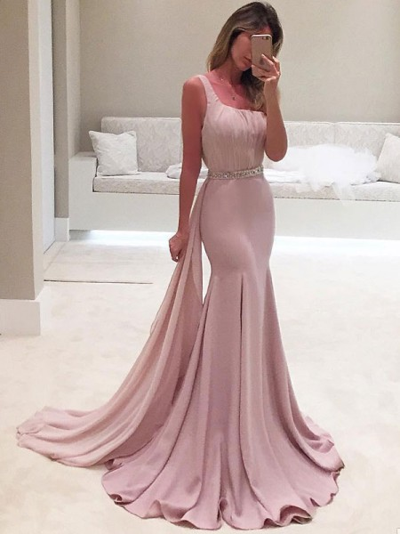 Trumpet/Mermaid One-Shoulder Sleeveless Ruffles Chiffon Sweep/Brush Train Dresses
