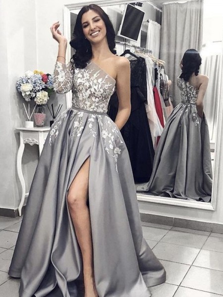 A-Line/Princess One-Shoulder Sleeveless Applique Satin Sweep/Brush Train Dresses