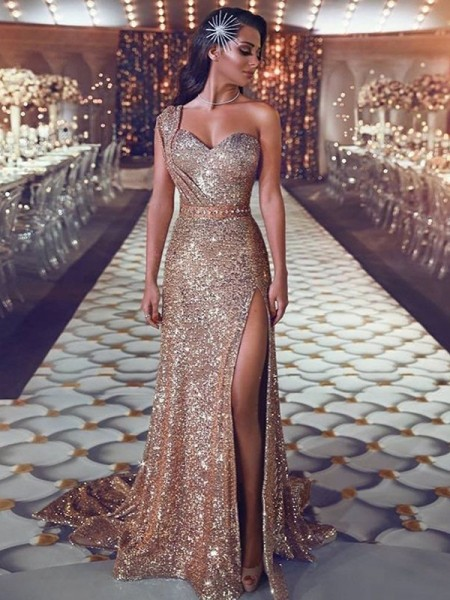 Sheath/Column One-Shoulder Sleeveless Beading Sequins Sweep/Brush Train Dresses