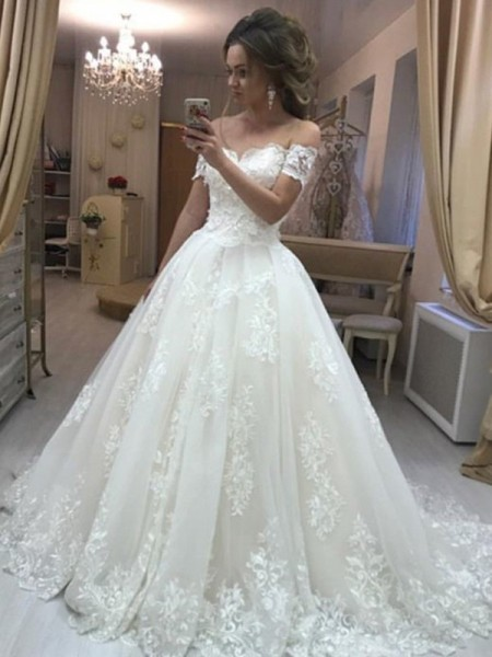 A-Line/Princess Off-the-Shoulder Sleeveless Applique Tulle Sweep/Brush Train Wedding Dresses