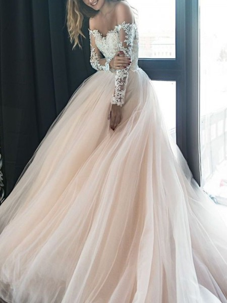 A-Line/Princess Off-the-Shoulder Long Sleeves Applique Tulle Court Train Wedding Dresses