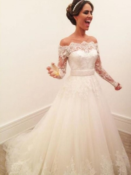 A-Line/Princess Off-the-Shoulder Long Sleeves Tulle Sweep/Brush Train Wedding Dresses