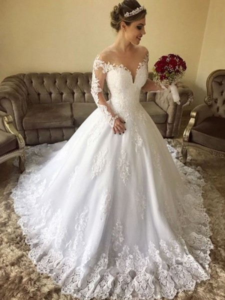 Ball Gown Off-the-Shoulder Long Sleeves Tulle Sweep/Brush Train Wedding Dresses