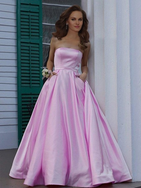 A-Line/Princess Strapless Sleeveless Ruffles Satin Floor-Length Dresses