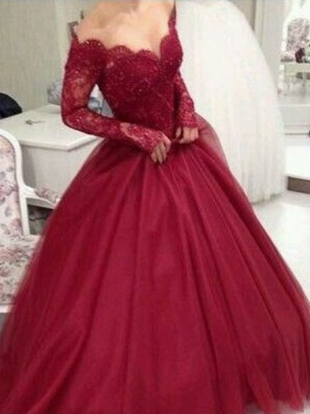 Ball Gown V-neck Long Sleeves Tulle Floor-Length Dresses