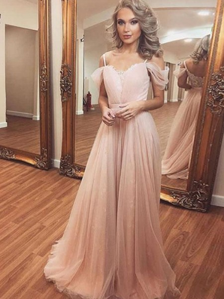 A-Line/Princess Off-the-Shoulder Sleeveless Ruched Tulle Sweep/Brush Train Dresses