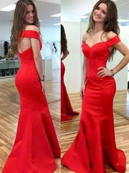 Trumpet/Mermaid Off-the-Shoulder Sleeveless Satin Floor-Length Dresses