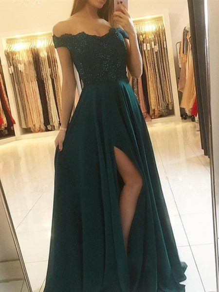 A-Line/Princess Off-the-Shoulder Sleeveless Beading Chiffon Floor-Length Dresses