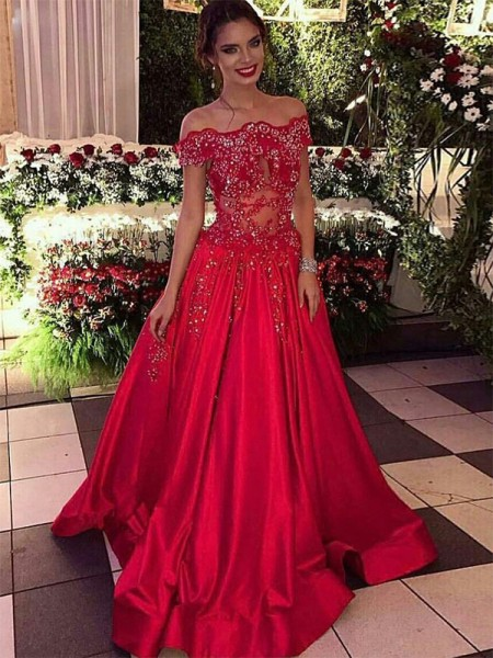 Ball Gown Off-the-Shoulder Sleeveless Beading Satin Sweep/Brush Train Dresses