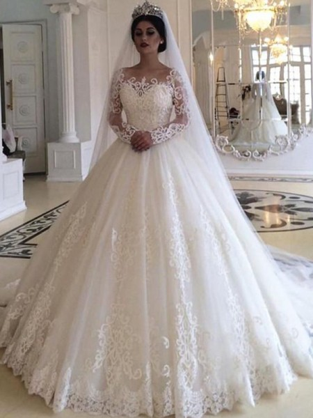 Ball Gown Off-the-Shoulder Sweep/Brush Train Applique Tulle Long Sleeves Wedding Dresses