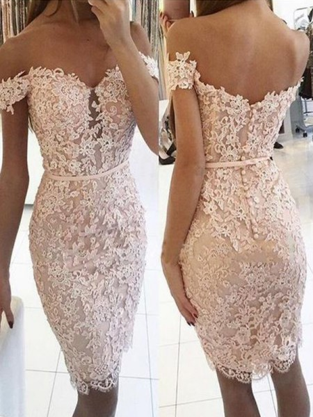 Sheath/Column Lace Off-the-Shoulder Sleeveless Lace Knee-Length Dresses