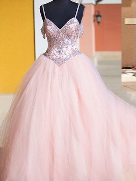 Ball Gown Sleeveless Crystal Spaghetti Straps Floor-Length Tulle Dresses