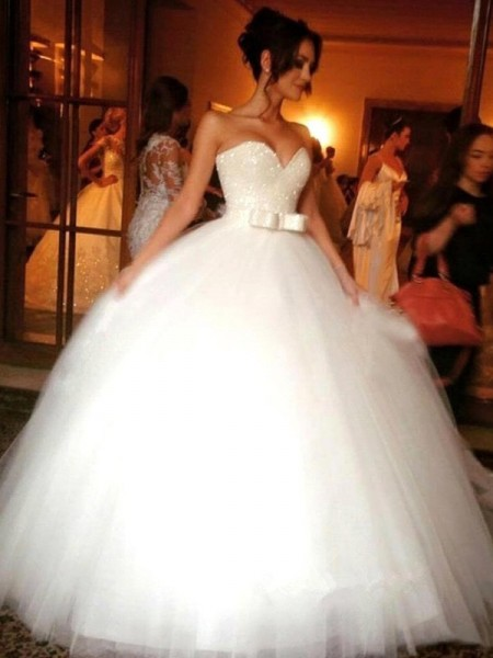 Ball Gown Sleeveless Bowknot Sweetheart Floor-Length Tulle Wedding Dresses