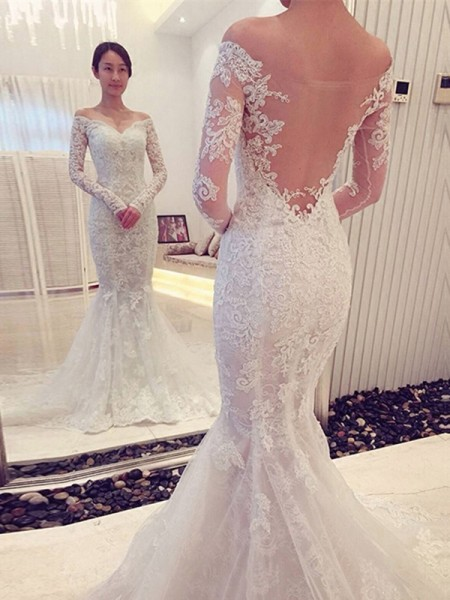 Trumpet/Mermaid Long Sleeves Off-the-Shoulder Chapel Train Lace Wedding Dresses