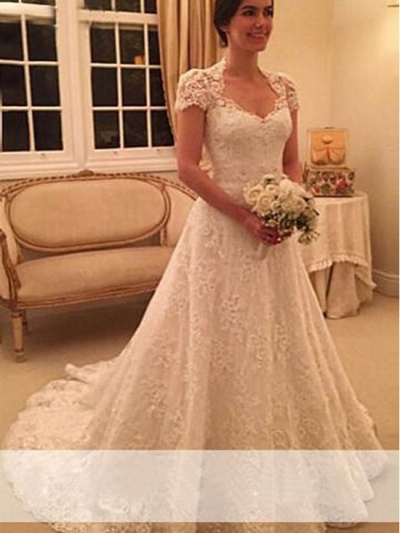 A-Line/Princess Short Sleeves Lace Sweetheart Court Train Lace Wedding Dresses