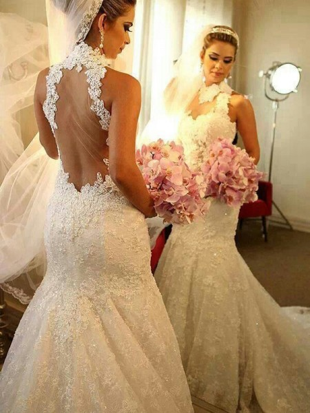 Trumpet/Mermaid Sleeveless Lace High Neck Court Train Lace Wedding Dresses