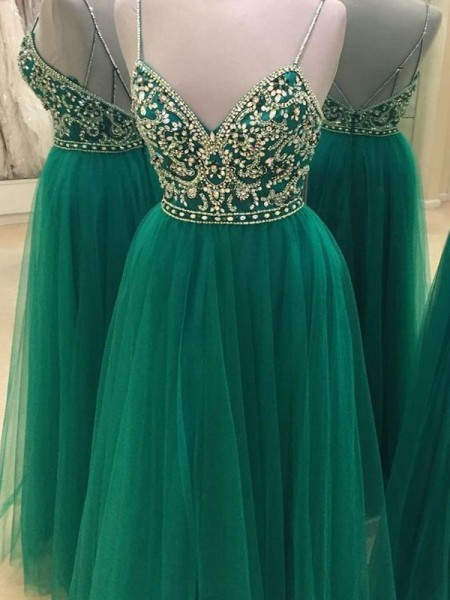 A-Line/Princess Sleeveless Beading Spaghetti Straps Floor-Length Tulle Dresses