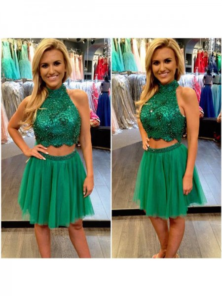 A-line/Princess Sleeveless Beading High Neck Short/Mini Tulle Cocktail Party Dresses
