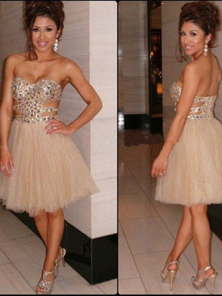 A-line/Princess Sleeveless Sequin Sweetheart Short/Mini Tulle Cocktail Party Dresses
