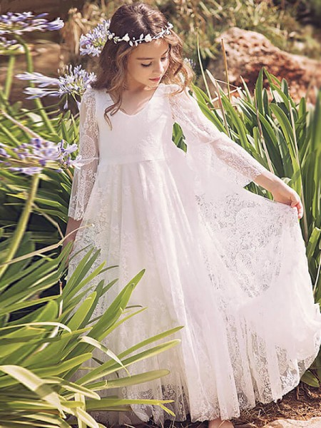 A-Line/Princess V-neck Floor-Length Long Sleeves Lace Flower Girl Dresses