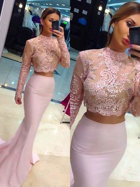 A-Line/Princess Long Sleeves Lace High Neck Sweep/Brush Train Satin Dresses