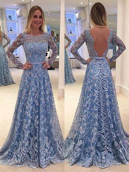 A-Line/Princess Long Sleeves Ruffles Bateau Floor-Length Lace Dresses