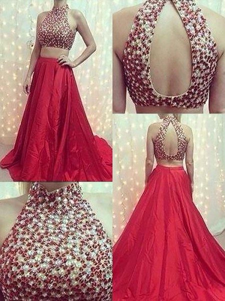 A-Line/Princess Sleeveless Beading High Neck Sweep/Brush Train Satin Dresses