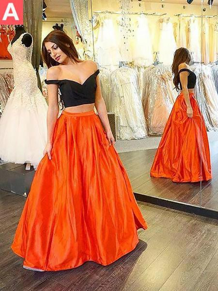 A-Line/Princess Sleeveless Ruffles Off-the-Shoulder Floor-Length Taffeta Dresses
