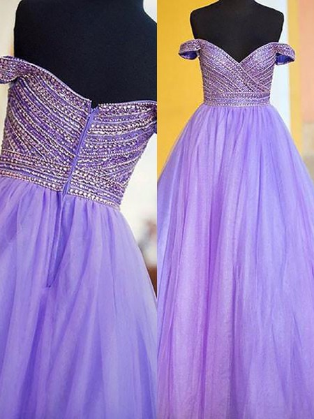 Ball Gown Sleeveless Beading Off-the-Shoulder Floor-Length Tulle Dresses