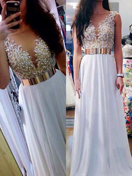 A-Line/Princess Sleeveless Beading V-neck Floor-Length Chiffon Dresses