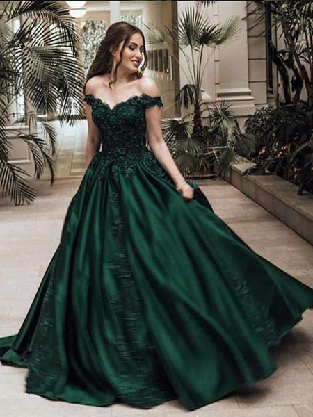 Ball Gown Sleeveless Lace Off-the-Shoulder Floor-Length Satin Dresses